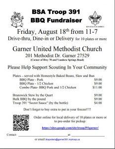 BSA Troop 391 BBQ Fundraiser @ Garner United Methodist Church | Garner | North Carolina | United States