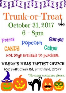 Trunk or Treat @ Wilson's Mills Baptist Church | Smithfield | North Carolina | United States