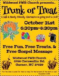 Trunk or Treat @ Wildwood FWB Church | Garner | North Carolina | United States