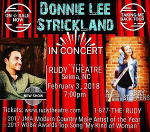Donnie Lee Strickland w/special guest Abby Stephens @ Rudy Theatre | Selma | North Carolina | United States