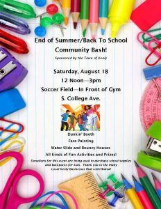 End of Summer/Back to School Community Bash @ Town of Kenly