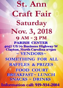 St. Ann Craft Fair @ St. Ann Catholic Church | Clayton | North Carolina | United States