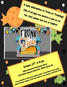 TRUNK-OR-TREAT @ WHITE MEMORIAL PRESBYTERIAN CHURCH | North Carolina | United States