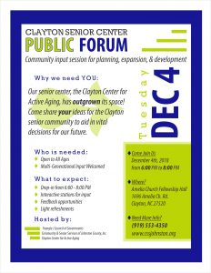 Senior Center Public Forum @ Amelia Christian Church | Clayton | North Carolina | United States