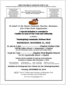 Community Thanksgiving Meal @ Clayton Civitan and First Baptist Church | Clayton | North Carolina | United States