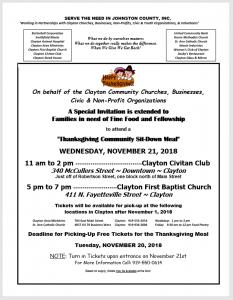 Community Thanksgiving Meal @ Clayton Civitan and First Baptist Church | Clayton | North Carolina | United States