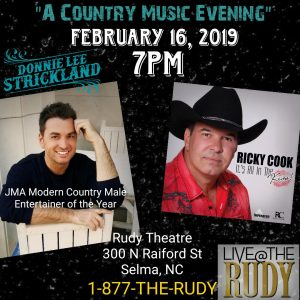DONNIE LEE STRICKLAND w/ Ricky Cook @ Rudy Theater | Selma | North Carolina | United States