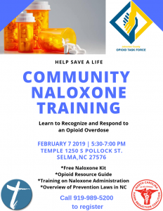 COMMUNITY NALOXONE TRAINING @ Temple Church | Selma | North Carolina | United States