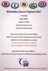 Westside Cancer Fighters BINGO Fundraiser @ Friendy Chapel Church | Benson | North Carolina | United States