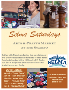 Selma Saturdays: Arts & Crafts Market at the Gazebo @ Selma Gazebo | Selma | North Carolina | United States