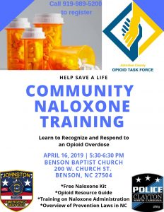 Free Community Naloxone Training in Benson @ Benson Baptist Church | Benson | North Carolina | United States