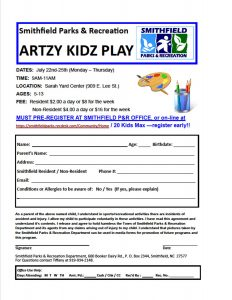 Artzy Kidz Play @ Sarah Yard Community Center | Smithfield | North Carolina | United States