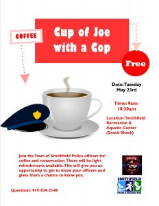 Cup of Joe with a Cop @ Smithfield Recreation & Aquatic Center | Smithfield | North Carolina | United States