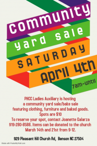 Community Yard Sale @ Pleasant Hill Christian Church | Benson | North Carolina | United States