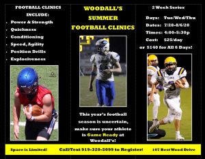 Woodall's Summer Football Clinics! @ Woodall's Fitness and Performance | Clayton | North Carolina | United States