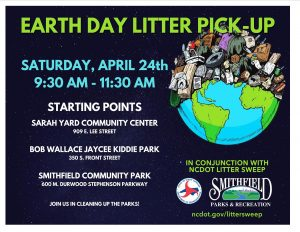 Earth Day Litter Pick Up in Conjunction with NCDOT Litter Sweep @ Smithfield Community Park, Sarah Yard Center, Bob Wallace Jaycee Kiddie Park | Smithfield | North Carolina | United States